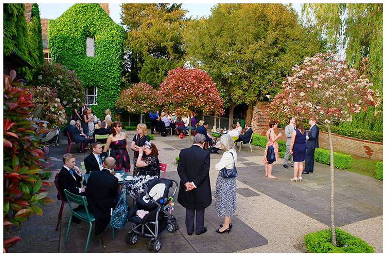 Old Bridge Hotel Wedding guests outside in courtyard