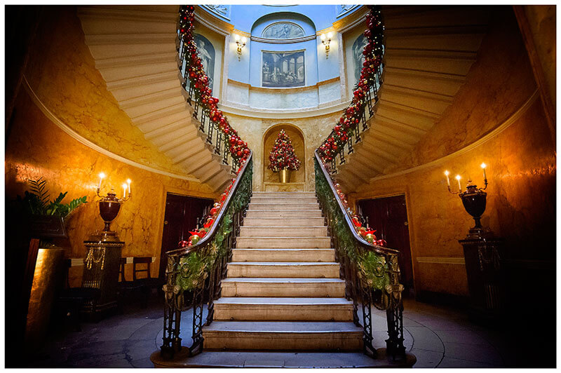 Home House Wedding Venue London Staircase decorated for christmas