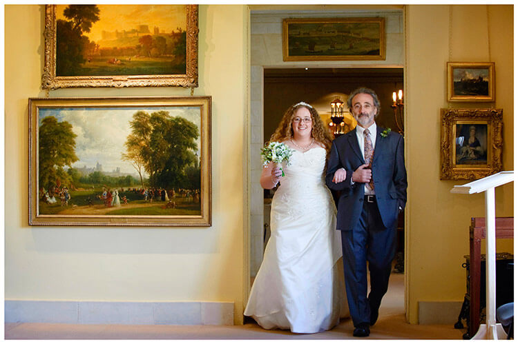 Anglesey Abbey wedding bride and father, yellow room, paintings