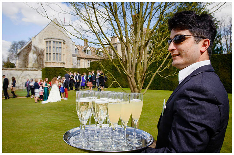 Anglesey Abbey wedding champagne ready to be served