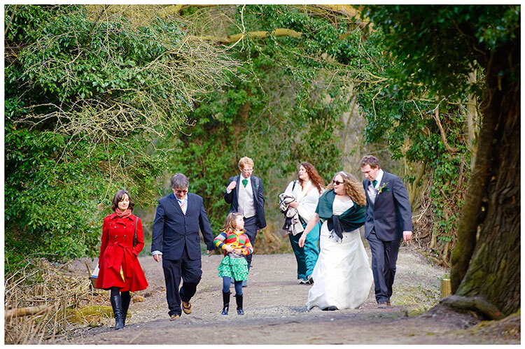 Anglesey Abbey wedding walking in the woods