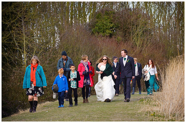 Anglesey Abbey wedding walking to reception