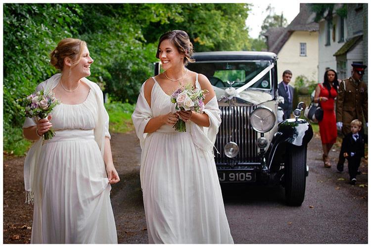 Hemingford Grey wedding bridesmaids arrive wedding car