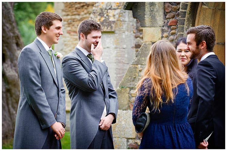 Hemingford Grey wedding laughing bestman guests groom