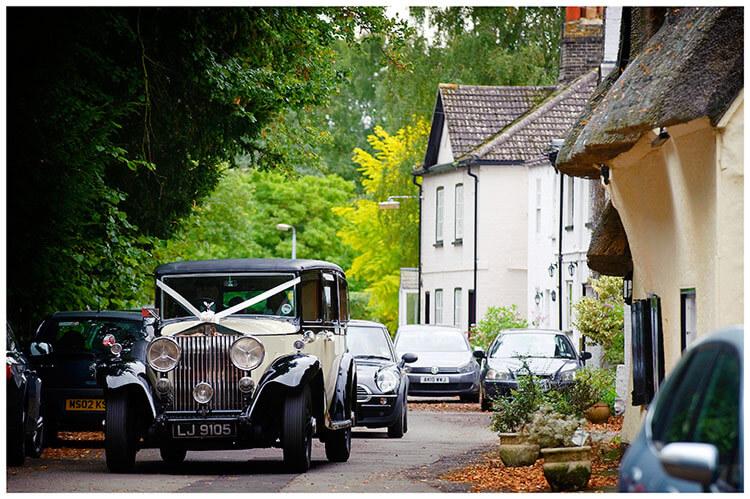 Hemingford Grey wedding car arrives