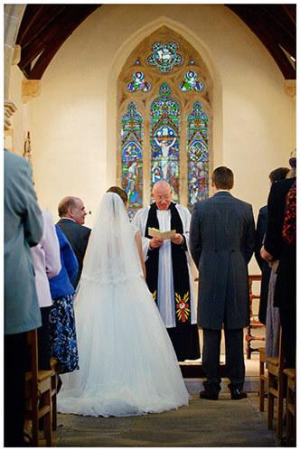 Hemingford Grey wedding brides father looking at bride