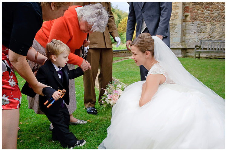 Hemingford Grey wedding reluctant child and bride