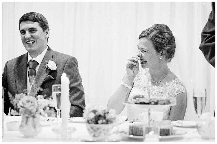 belfry hotel wedding laughing bride groom