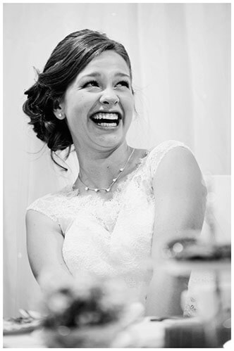belfry hotel wedding laughing bride