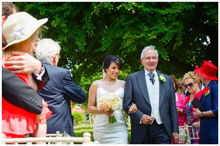 chippenham park summer wedding emotional bride arrives on fathers arm