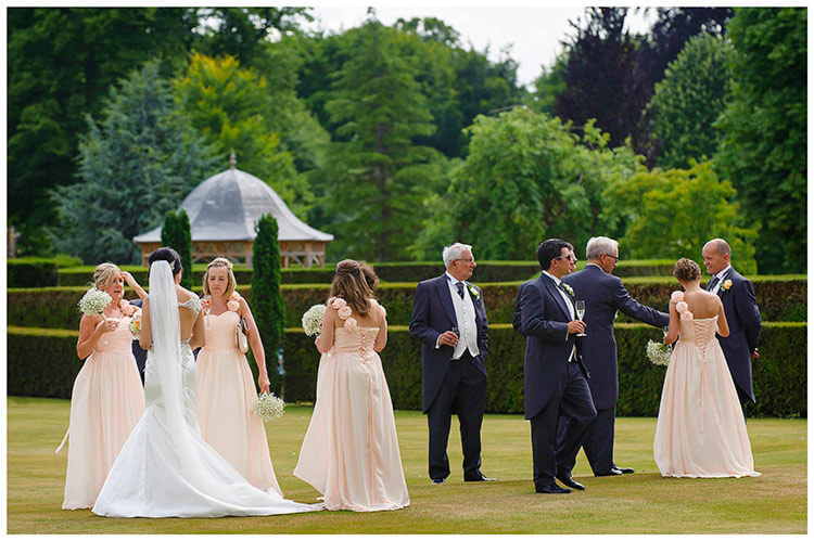 chippenham park summer wedding bridal party