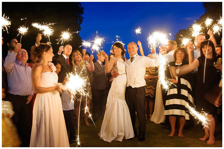 chippenham park summer wedding sparklers