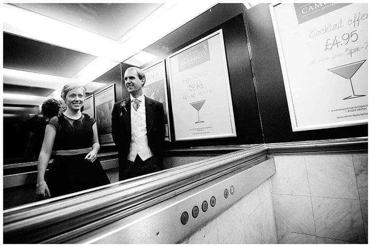Emmanuel College wedding in a lift