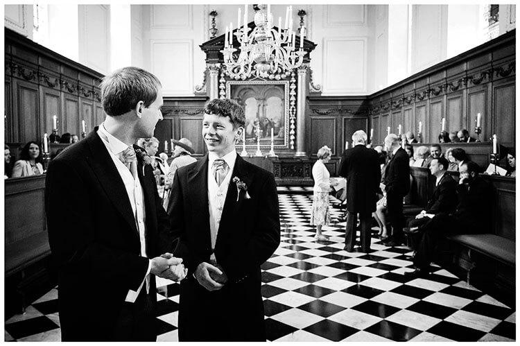 Emmanuel College wedding groom best man in chapel