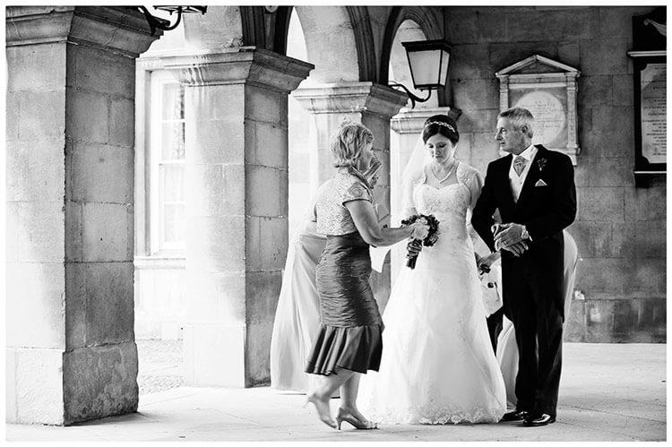 Emmanuel College wedding bride about to go into chapel
