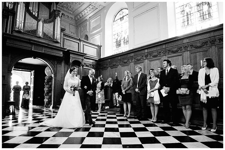Emmanuel College wedding bride and her father walking down aisle