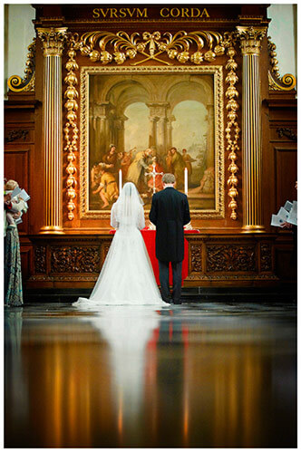 Emmanuel College wedding bride groom at alter reflected in checkered floor