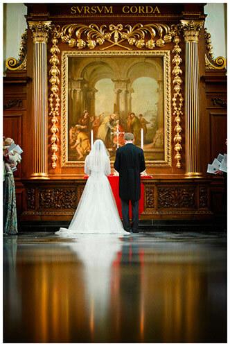 Emmanuel College wedding bride groom at alter reflected in checkered floor