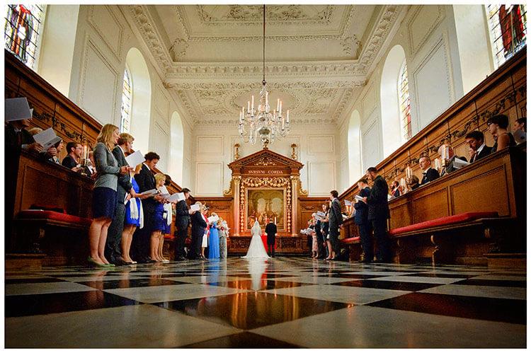 Emmanuel College wedding chapel during ceremony