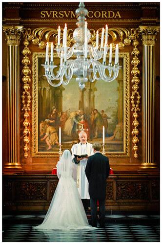 Emmanuel College wedding bride groom at alter