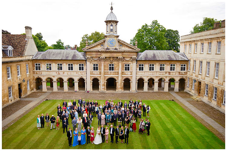 Emmanuel College wedding party group photo