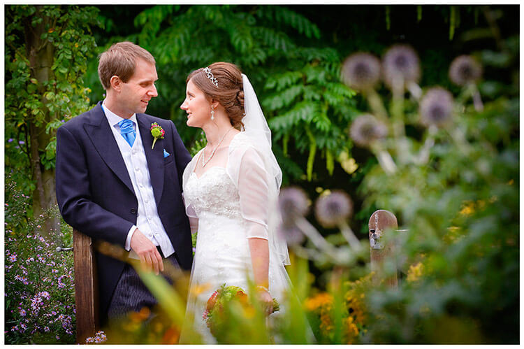 Emmanuel College wedding romatic moment in gardens