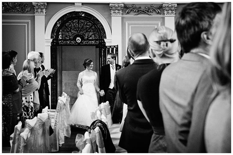 Emmanuel College wedding bride groom enter dining room