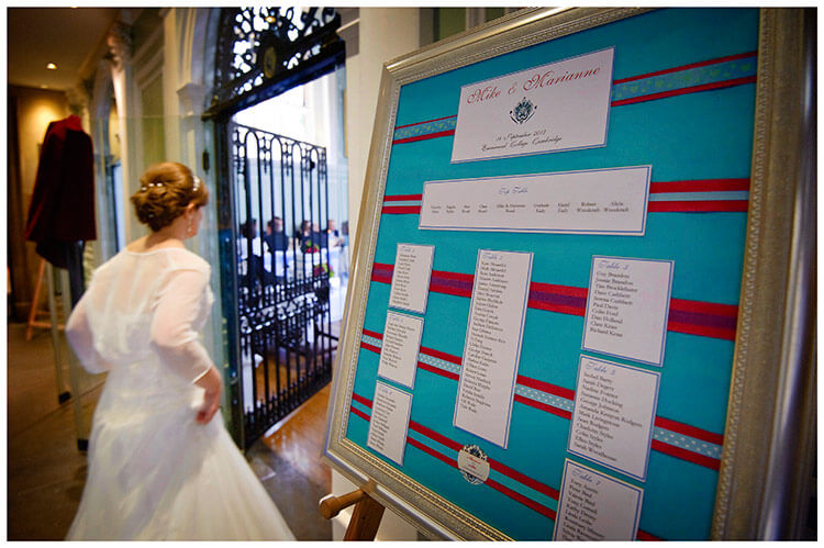 Emmanuel College wedding table seating plan, bride passes in background