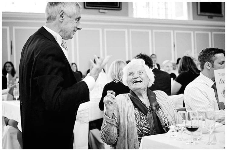 Emmanuel College wedding laughing grandmother