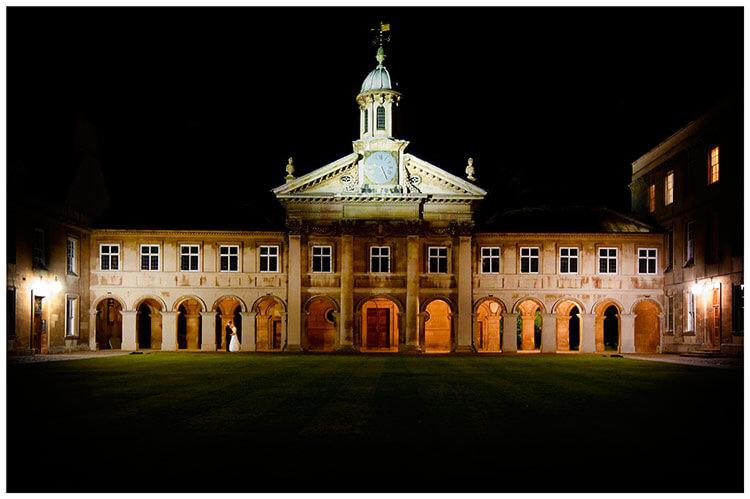 Emmanuel College wedding, clock, central court, night