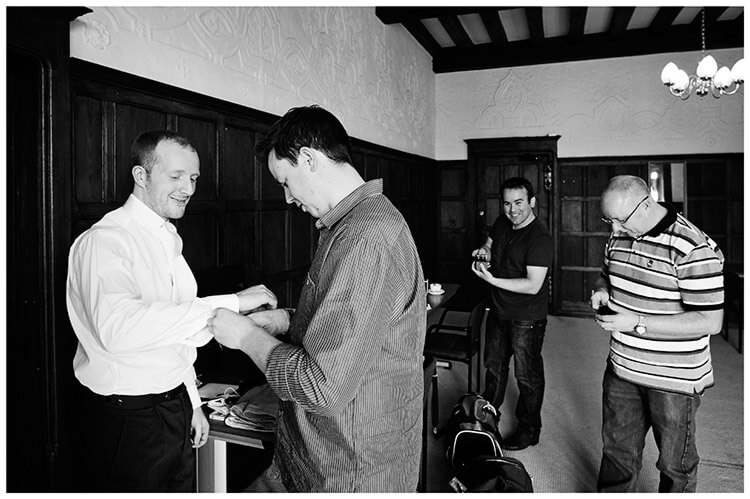 Fanhams Hall wedding grooms men getting ready