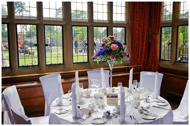 Fanhams Hall wedding table setting, window