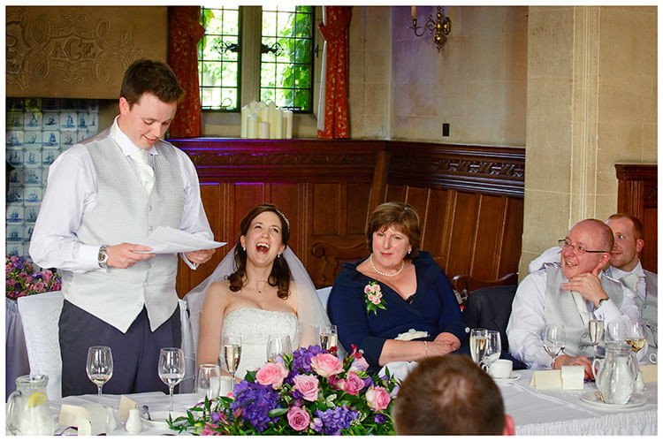 Fanhams Hall wedding grooms speech bride laughing