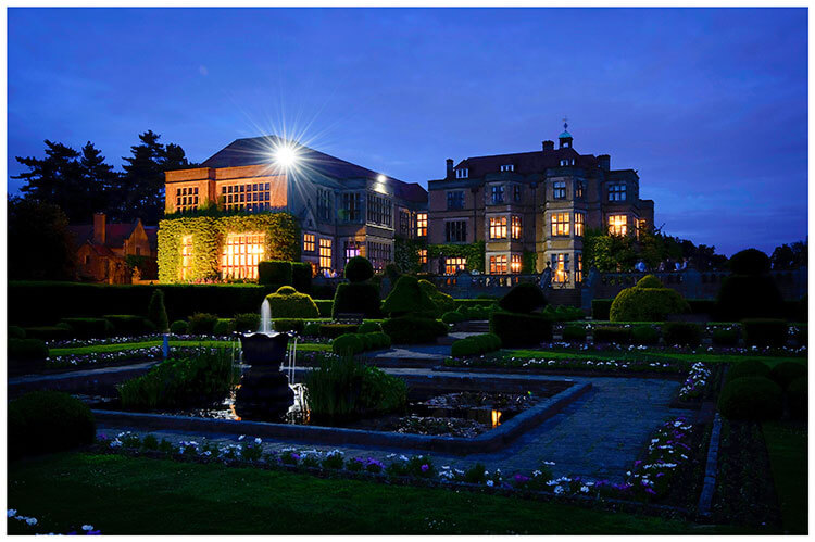 Fanhams Hall wedding venue hertfordshire at night