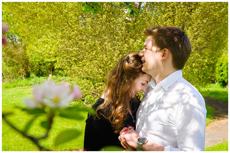 Friars Court Oxfordshire Pre-Wedding Photoshoot  romantic couple embrace hold hands
