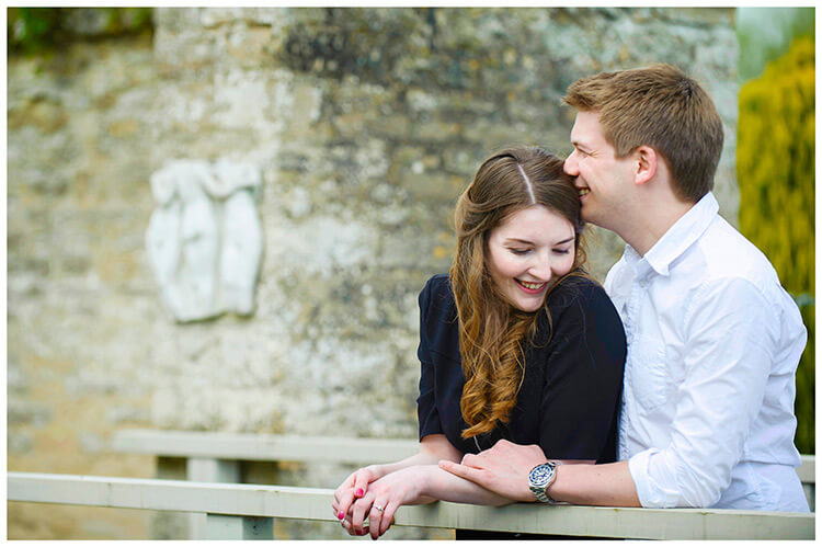 Friars Court Oxfordshire Pre-Wedding Photoshoot  tender moment between couple