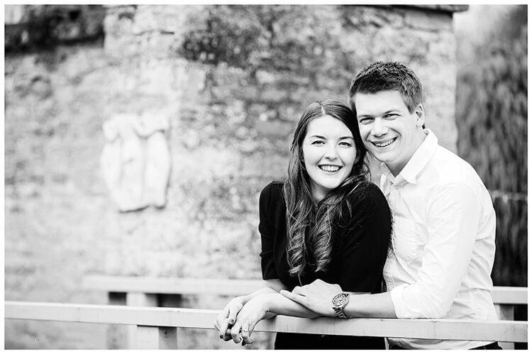 Friars Court Oxfordshire Pre-Wedding Photoshoot couple smiling