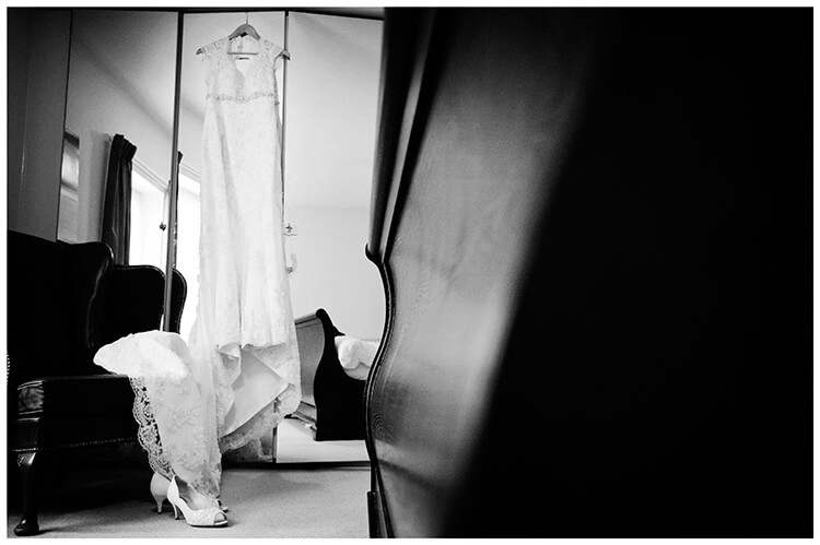 Longstowe Hall Wedding brides dress and shoes