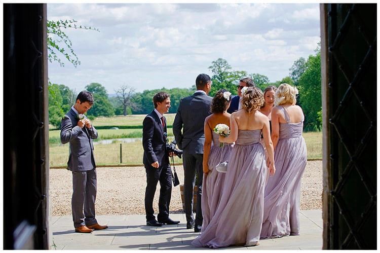 Madingley Hall Wedding bridesmaids and guests