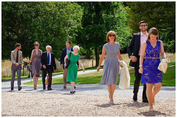 Madingley Hall Wedding guests arriving
