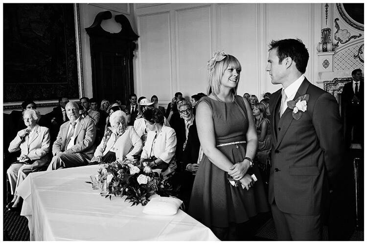 Madingley Hall Wedding groom best woman waiting for bride
