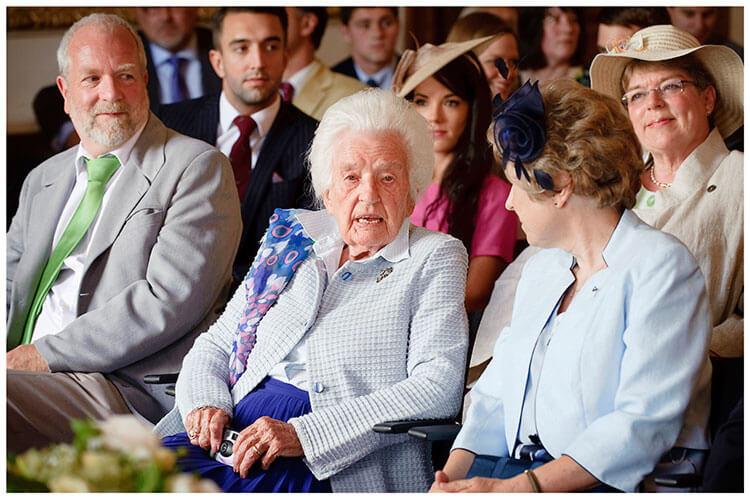 Madingley Hall Wedding elderly guest