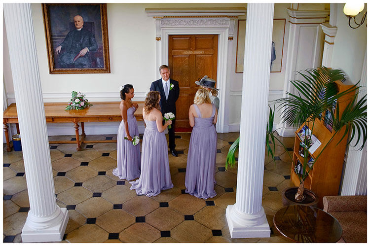 Madingley Hall Wedding bridal party waiting