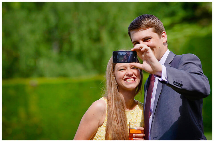 Madingley Hall Wedding guests selfie