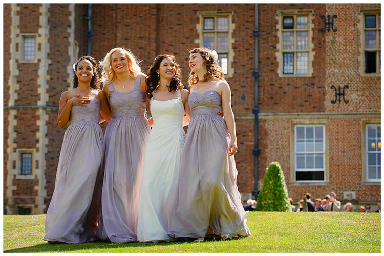 Madingley Hall Wedding bride bridesmaids