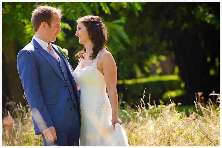 Madingley Hall Wedding bride groom portrait