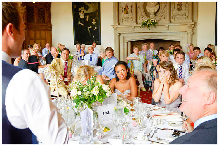 Madingley Hall Wedding surprise at grooms speech