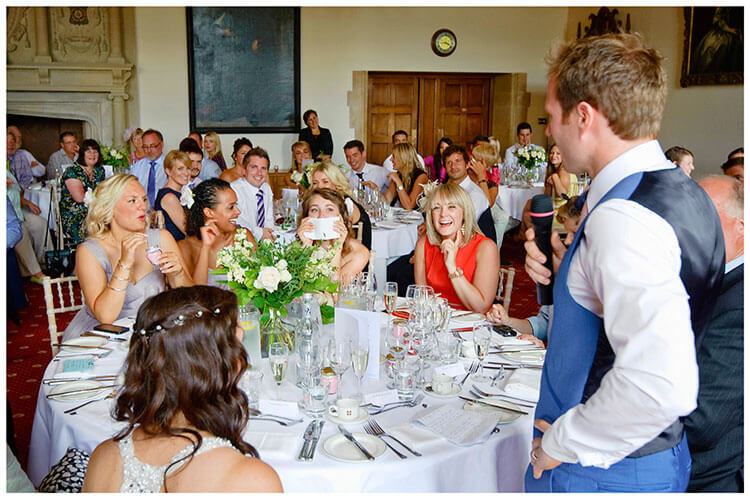Madingley Hall Wedding laughing at grooms speech
