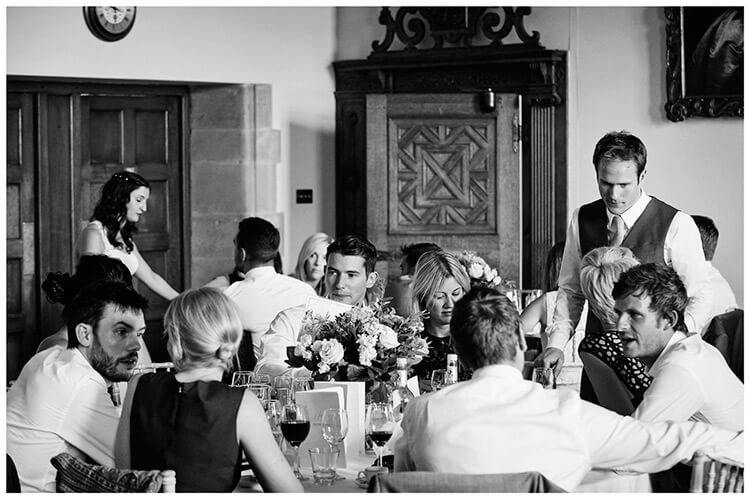 Madingley Hall Wedding bride groom mixing with wedding guetss