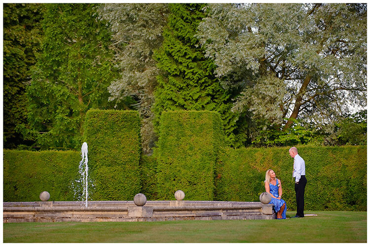 Madingley Hall Wedding guests fountain gardens